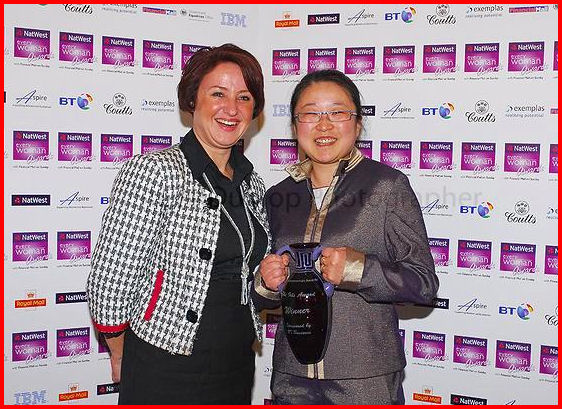 Dorothy Sheehan, General Manager of BT Business with NatWest Everywoman Awards winner Ling Valentine of LINGsCARS