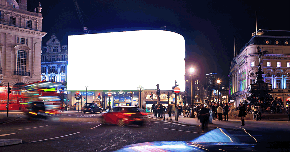 UK Piccadilly Circus background with cars